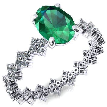 Lacy Oval Emerald 4 Prong Single Rail Full Eternity Engagement Ring