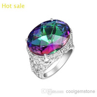 2014 new latest style fashion brand 925 sterling silver plated austrian crystal Mystic topaz punk gemstone lovers wedding rings R0650