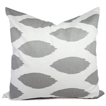 2 Decorative Throw Pillow Covers - Grey and White Ikat Throw Pillow - 20 x 20 inches Cushion Cover Accent Pillow - Grey Pillow -Grey Chipper