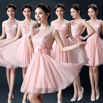 C.V Bridesmaid dress short design 2017 new knee-length sleeveless lace flower pink color bridesmaid dresses short free shipping