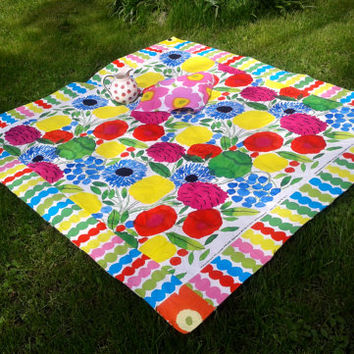 Marimekko picnic blanket, modern picnic rug with waterproof backing