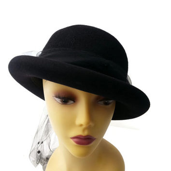 Vintage Betmar Black Hat with netting