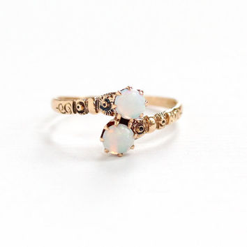Antique 10K Rose Gold Toi et Moi Opal Gemstone Ring - Vintage Size 5 1/2 Victorian Late 1800s Repousse Flower Two Stone Fine Jewelry