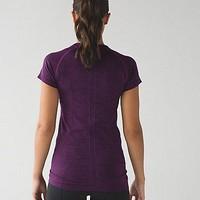 lulu LULULEMON seamless pure color yoga running t shirt Purple DX001