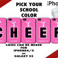Cheer iPhone Cases - iPhone 4 Case or iPhone 5 Case - Personalized - Five Case Set