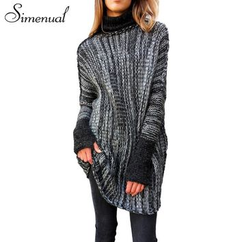 Simenual Vintage women's turtlenecks sweaters and pullovers patchwork long jumper casual slim knitted clothing pullover female