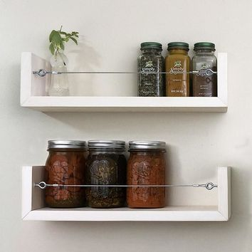 Solid Wood Farmhouse Shelf Set / Spice Racks - Stained Finish