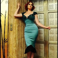 Isabelle Dress in Porcelain Turquoise Satin with Black Lace | Pinup Girl Clothing