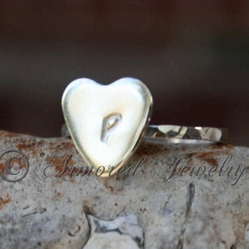 Custom Sterling Silver Heart Initial Ring (Stackable)