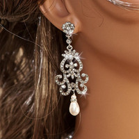 NICOLA - Vintage Inspired Silver Rhinestone and Swarovski Pearl Bridal Chandelier Earrings