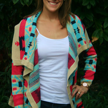 Coral and Aqua Aztec Print Cardigan