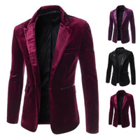 New Fashion Men Slim Fit Blazer One Button Velvet Suit Jackets Coat