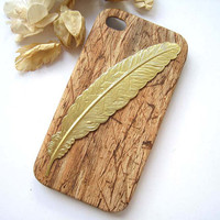 Gold Big Feather Wood Pattern iPhone 4 Hard Case, iPhone 4S Hard Case