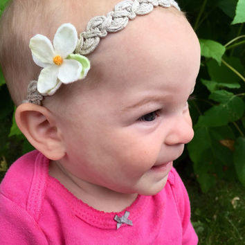 Boho style headband, baby headband, halo crown headband, infant headband, teen headband, braid headband, girls headband, twine headband