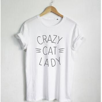 New Arrive Lady Cute Tee Crazy Cat Lady T-Shirt Graphic Letter tshirt Casual Cotton Women/Men Hipster Tops Tumblr shirt Clothing