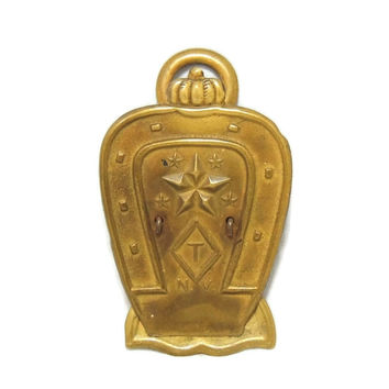 Embossed Antique Paperclip Note Holder Brass Plated Horseshoe