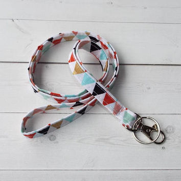 Skinny Lanyard / Key Leash ID Badge Holder - NEW THINNER design - metallic gold triangles  - Lobster clasp and key ring