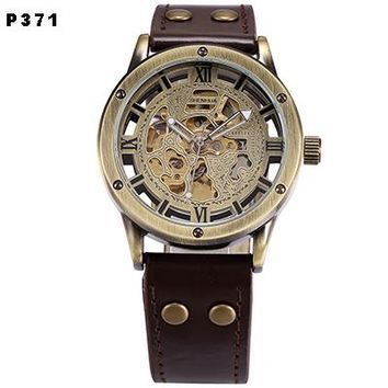 Men Skeleton Automatic Steampunk Watch