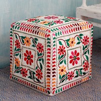 Handcrafted Cotton Rayon 'Barmer Blooms' Ottoman Cover (India) | Overstock.com Shopping - The Best Deals on Ottomans