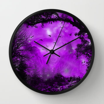 The Enchanted Forest Wall Clock by Augustinet | Society6