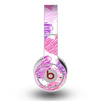 The Loopy Pink and Purple Hearts Skin for the Original Beats by Dre Wireless Headphones