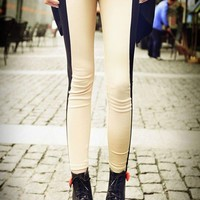 Chic Contrast Beige and Black Skinny Leggings - Oasap High Street Fashion