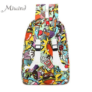 2017 Fashion Harajuku Graffiti Printing Canvas Backpack Large Zipper School Bags Teen Girl Boys Laptop Casual Mochilas Men Women
