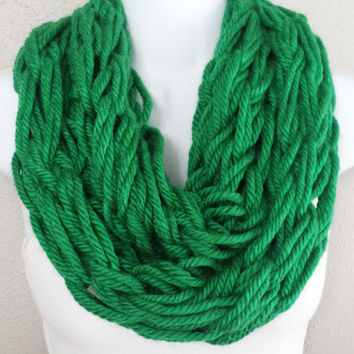 Clover Green Arm Knitted Infinity Scarf Womens Fashion Arm Knit Circle Scarves Girls Saint Patricks Day Scarf Knitted St Pattys Day Scarves