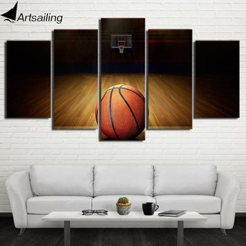 5 Piece Canvas Art HD Printed Basketball Course Painting Wall Pictures For Gym Decor Modular Framed Painting Home Decor CU-1758A