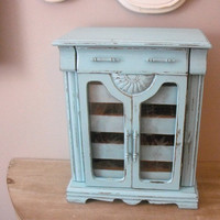 Vintage upcycled Aqua Jewelry Box  Shabby chic by MamaLisasCottage
