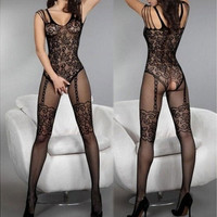 Lady Charming Sexy Open Crotch Stockings Crotchless Fishnet Sheer Body Lingerie wtmp [6433095684]