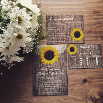 Rustic Sunflower Wedding Invitation, Sunflower Wedding Invitation, Country Wedding Invitation