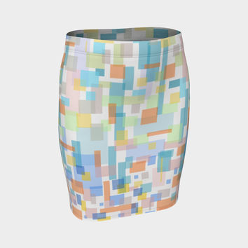 zappwaits watercolor k1 Fitted Skirt
