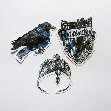 Ravenclaw sticker pack, Harry Potter, watercolor, Hogwarts, Luna Lovegood, horcrux, dumbledore,magic, Luna Lovegood, gift idea, potterhead