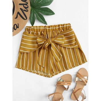 Knot Front Striped Shorts Yellow