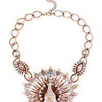 Betsey Johnson Patina Glitz Peacock Frontal Necklace