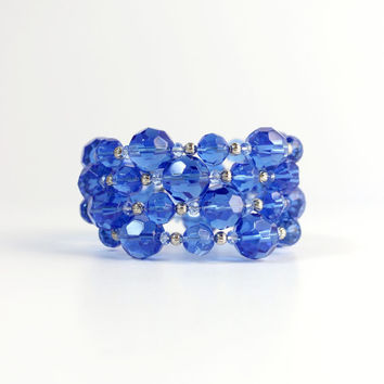 Royal Blue and Silver Beaded Memory Wire Bracelet - Handmade Jewelry - One Size Fits All - OOAK - Ready to Ship