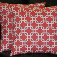 """PILLOWS Decorative Pillow Covers coral Accent Pillows 18x18 inch CHAIN LINK salmon pink and white 18"""""""