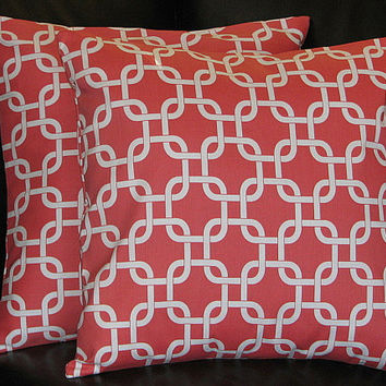 PILLOWS Decorative Pillow Covers coral Accent Pillows 18x18 inch CHAIN LINK salmon pink and white 18""