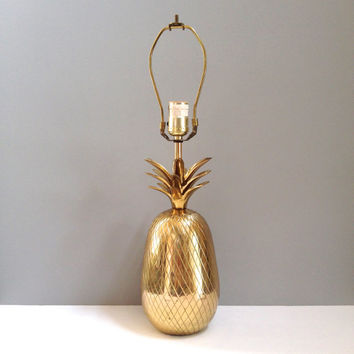 Vintage Mid Century Brass Pineapple Table Lamp