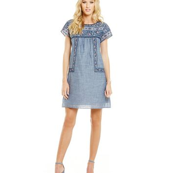 Chelsea & Violet Embroidered Shift Dress | Dillards