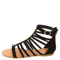 Chevron-Plated T-Strap Gladiator Sandals by Charlotte Russe - Black
