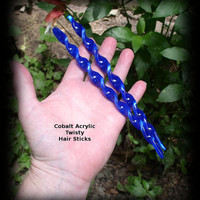 Summer Celebration Acrylic Twisty Hair Sticks (pair) COBALT BLUE 7 inches Ready To Ship