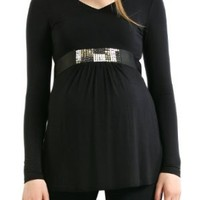 "Momo Maternity ""Melissa"" V-Neck Tunic with Sequin Belt - X-Small"