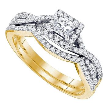 14kt Yellow Gold Women's Princess Diamond Twist Bridal Wedding Engagement Ring Band Set 5/8 Cttw - FREE Shipping (US/CAN)