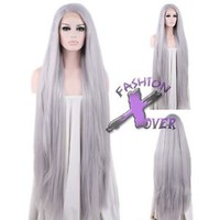 "18""-39"" Long Straight Silver Grey Lace Front Synthetic Wig"