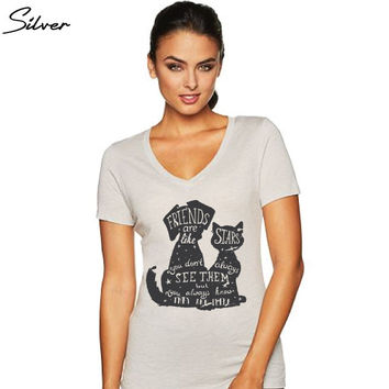 Best Friends Shirt - Dog and Cat - Friends Are Like Stars - You Don't Always See Them, But You Always Know They Are There - Women's V-Neck