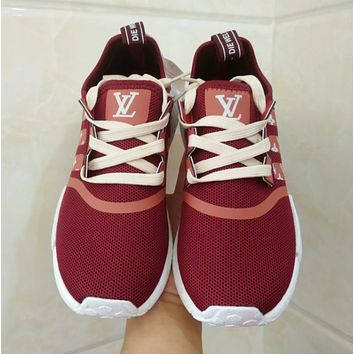 Adidas NMD x LV Louis Vuitton Burgundy Women Fashion Trending Running Sports