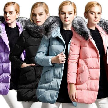 ICIKJG2 Hot Sale Women's Down Coat With Fur Hood With 90% Down White Duck Puffer Jacket A Shape Outwear H9