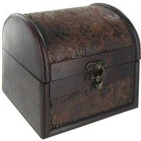 Small Brown Leather & Wood Veneer Chest Box   Shop Hobby Lobby